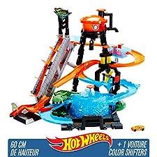 Hot Wheels City Station de Lavage Ultime, coffret de jeu avec pistes pour changer la couleur des voitures Color Shifters, Jouet pour enfant, FTB67