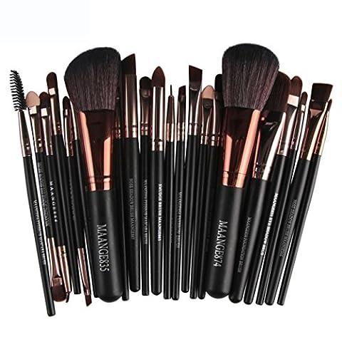 LONUPAZZ 22 pcs/set maquillage brush set makeup brushes kit outils maquillage professionnel maquillage pinceaux yeux pinceau pour les lèvres (Noir)