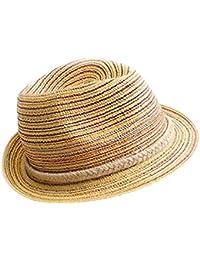 Y-BOA Chapeau Panama Bohémien Femme Paille Tressée Multicolore Été Plage Casual
