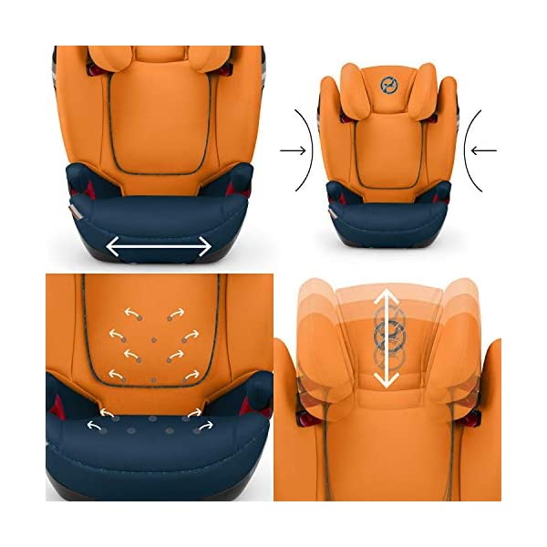 CYBEX Gold Solution S-Fix Child's Car Seat, For Cars with and without ISOFIX, Group 2/3 (15-36 kg), From approx. 3 to approx. 12 years, Indigo Blue Cybex Sturdy and high-quality child car seat with long service life - For children aged approx. 3 to approx. 12 years (15-36 kg), Suitable for cars with and without ISOFIX Maximum safety - Built-in side impact protection (L.S.P. System), 3-way adjustable headrest, Energy-absorbing shell 12-way adjustable, comfortable headrest, Adjustable backrest, Extra wide and deep seat cushion, Ventilation system 3