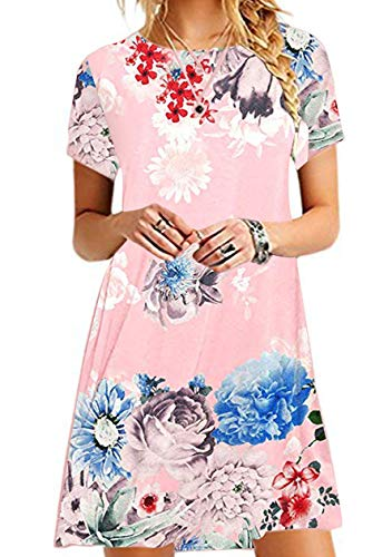 OMZIN Damen Kleid Große Größe Tunika Shirtkleid Kurzes Kleid Mini Sommerkleid Longshirt Plus Größe,Rosa Blumen,3XL -