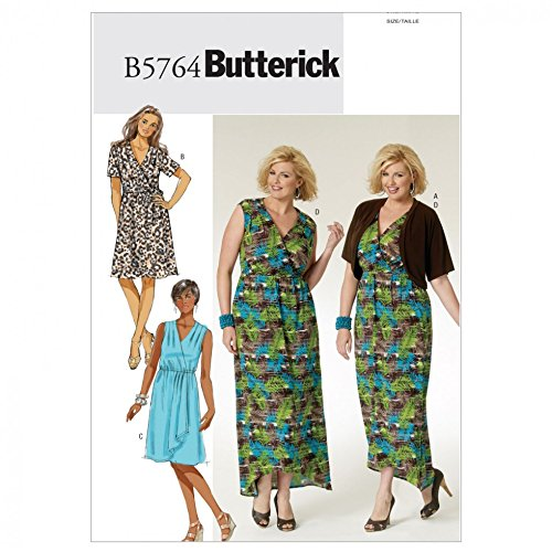 Butterick Sewing Pattern 5764 - Ladies Plus Size Dress Sizes: 26W-28W-30W-32W