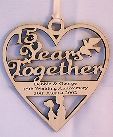 PERSONALISED WOOD ENGRAVED 15 YEARS - CRYSTAL WEDDING ANNIVERSARY PLAQUE