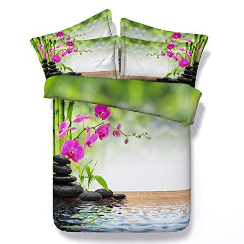 HUANZI Bettbezug 3D Bambus Raft-Muster Digital-Printing-Faser-Material Bettwäsche-Sets umfassen Bettbezug und Kissen, 150 * 200 -