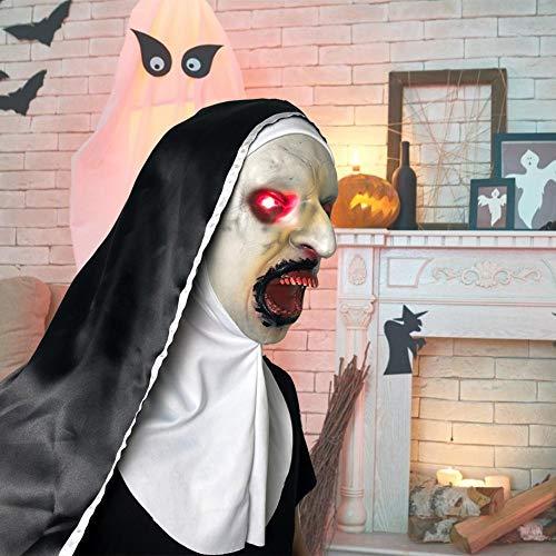yestter Halloween Horror Nonne Maske, Nonne Glühen Maske 2019 Film Kostüm, Nonne Kostüm Für Frauen, Nonne Maske Mit Schleier Scary Zombie Maske Cosplay Maskerade Masken Full - Nonne Kostüm Mit Maske