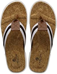 Carlton London Men's Renee Leather Flip Flops Thong Sandals