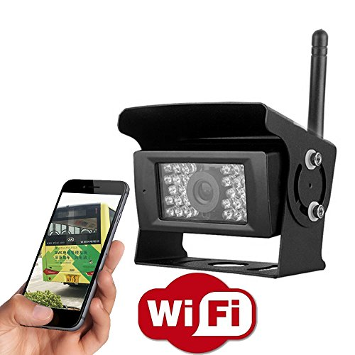 YMPA - WLAN WIFI Funk Kabellos Rückfahrkamera für Android IOS Smartphone Tablet für Anhänger Pferdeanhänger Transporter Wohnmobil Auto KFZ PKW 12V 24V IR Nachtsicht