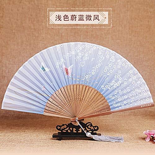 Kostüm Klimaanlage - XIAOHAIZI Handfächer,Sommer Bambus Fan Hohle Weiße Blume Schmetterling Hellblau Retro Chinesischen Stil Damen Geschenk Faltfächer Wanddekoration Tanz Fan
