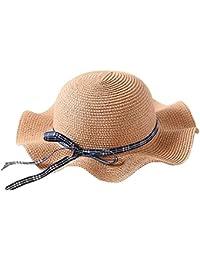 FEOYA Chapeau de Soleil Paille Pliable Pour Les Enfants Été Large  Casquettes Visières Bord Ondulé Plage Filles… c5ff55bd2d7
