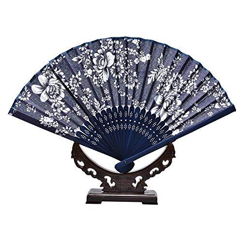 ZGDPLZS Faltfächer Raumdekoration Eleganten Stil Klassische Handwerk Batik Hand Halten Bambus Souvenir Floral Blumendrucke Faltfächer Tuch Fan -