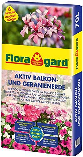 Floragard Aktiv Balkon und Geranienerde 70 Liter - mit 6 Monate Langzeitdünger - für alle Balkonpflanzen