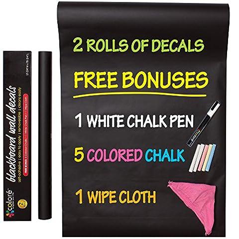 Colore Lot de 2rouleaux de stickers mureaux style tableau noir en vinyle autocollant Menu de restaurant Bureau Papier peint Cuisine de maison Craies colorées marqueurs craies et chiffons gratuits, blanc, 2 Rolls