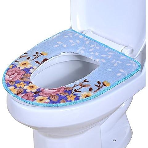 Moolecole Suave Baño Más Cálido Lavable Pana Dibujos Animados Patrón Baño Asiento Cubrir Almohadillas Cerca Taburete Amortiguar Estera Roland Azul