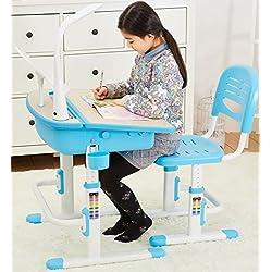 Bureau Ergonomique Avec Une Chaise et Lampe Pour Enfants Réglage En Hauteur Couleur Bleu - Tabouret d'Enfants Apprendre et s'Amuser Chambre d'Enfants Equipement de Salle Nouvelle Année Scolaire