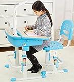 Scrivania Tavolo Sedia Ergonomica Per Bambini Basculante Scrittoio Set Di Mobili Altezza Regolabile Per L'apprendimento Lampada LED Per Computer Cassetto Blu Blue