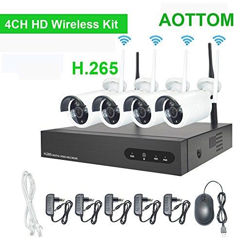 4CH 720P WIFI Überwachungskamera Set SUPERSUN NVR Überwachungskamera Set WiFi CCTV-Kameras für Home Surveillance, Eingebauter Router Unterstützung Motion Detection, Nachtsicht, Remote-Aufnahme, Plug and Play, Wiedergabe, Keine HDD (Motion-detection-kamera-set)