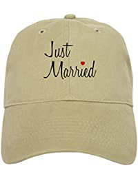 6dc1bac2af289 CafePress Just Married (Black Script W Heart) Baseball Cap