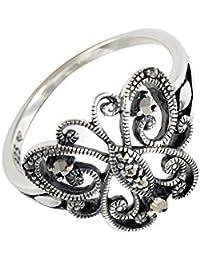 Bijoux pour tous - Anillo de plata de ley con marcasita