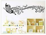 Stickers muraux Papillon Noir Bricolage Danse Volante Amovible Pvc Film Transparent...