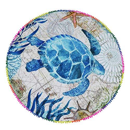 ZLX Picknickdecke, Schildkröte Muster Druck Runde Strandtuch Outdoor Picknick Matte Feuchtigkeit Pad Baby Krabbeln Matte, 146 * 146 cm TAN