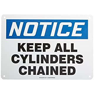 Accuform Signs MCPG825VA Aluminum Safety Sign, Legend NOTICE KEEP ALL CYLINDERS CHAINED, 10