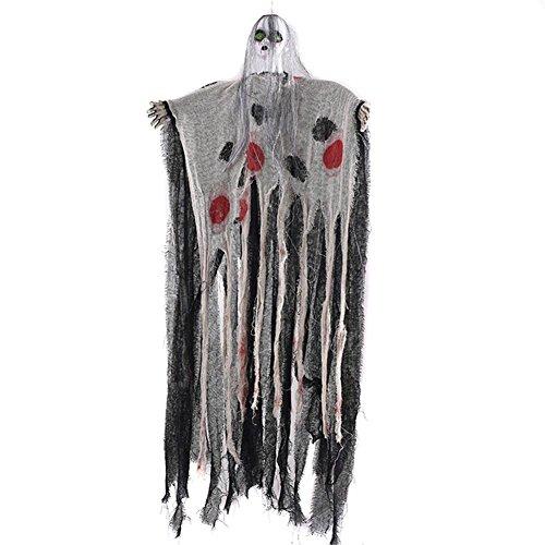 Halloween-Dekoration,Sprachsteuerung Elektrische Induktions-Geister Horror-Requisiten mit Sound & Glowing Eyes, Realistisches Ghul-Gespenst-Gesichtzauber-Gesicht Schaffen erschreckende ()