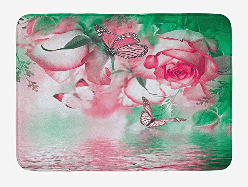 JIEKEIO Spring Bath Mat, Refreshing Rose Petals and Butterfly Water Romance Beauty Bouquet Design, Plush Bathroom Decor Mat with Non Slip Backing, 23.6 W X 15.7 W Inches, Jade Green Pale Pink Rainbow Butterfly Zebra