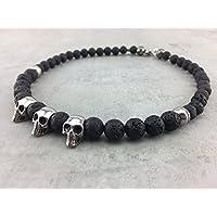 Halskette aus Lavasteinen Lavaperlen Perlenkette schwarz black für Herren Skull Totenkopf Schädel Männer Schmuck Biker Gothic Rocker K_12