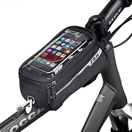F&H Fahrrad Rahmentasche 2.0, Handy Fahrradtasche, Oberrohrtasche, Handyhalterung, WASSERDICHT, 6,2 Zoll Touch-Screen