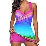 Huihong Damen Tankini Farbverlauf Regenbogen Gepolsterten Badeanzug mit Röckchen Badekleid mit Shorts Mode Große Größen Swimsuit (Rosa, 3XL)