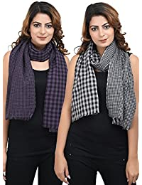 Anekaant Black/Purple Viscose Checkered Reversible Stole Pack Of 2 (55x180 cm)