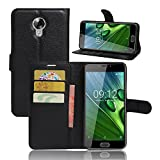 Etui Acer Liquid Z6 Plus Coque, VIFLYKOO Acer Liquid Z6 Plus Flip Coque Cuir Housse Protecteur PU Leather Cover Portefeuille Wallet Case Protection pour Acer Liquid Z6 Plus Smartphone Case - Noir