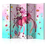 murando Raumteiler Foto Paravent Anime 225x172 cm beidseitig auf Vlies-Leinwand Bedruckt Trennwand Spanische Wand Sichtschutz Raumtrenner Design Manga Girl e-C-0061-z-c