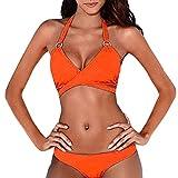 ZARU Bandage einfarbig Split Bikini, Damen Push-Up Gepolsterter BH Neckholder Zweiteilige Bademode Sport Badeanzug Tankini Beachwear Bikini Set (L, Orange)