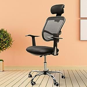 Chaise bureau pivotant inclinable tête réglable fauteuil ordinateur tissu noir neuf 94