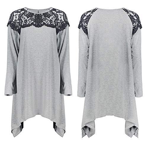 WWricotta Women Plus Size O-Neck Long Sleeve Lace Splicing Loose-Fitting T-Shirt Long Tee - 100% Baumwolle Womens Tee