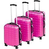 TecTake Set di 3 valigie ABS rigido trolley valigia bagaglio a mano | sistema di rotelle girevoli a 360° | serratura di sicurezza a combinazione numerica - disponibile in diversi colori (Rosa Fucsia | no. 402671)