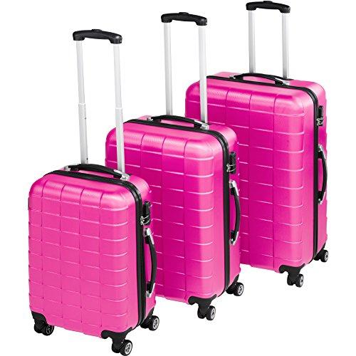 TecTake Set 3 Piezas Maletas ABS Juego de Maletas de Viaje Trolley Maleta Dura | 4 Ruedas de 360º | 2 Mangos y un asa telescópica (Rosa | no. 402671)