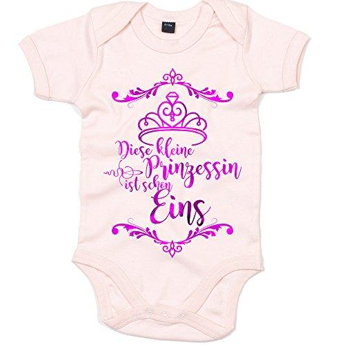 Diadem 1 Jahr Body | Baby | Diese Kleine Prinzessin ist Schon Eins | Geburtstagskind | Strampler | Oeko-Tex, Farbe:Babyrosa (Powder Pink BZ10);Größe:12-18 Monate (Happy Birthday-krone 13)