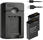 ENEGON Replacement Battery(2-Pack) and USB Charger for Nikon EN-EL12 and Nikon KeyMission 360 KeyMission170 Ni