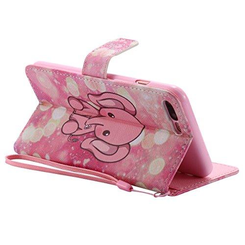 iPhone 7 Plus Hülle,SainCat PU Leder Hülle Brieftasche im BookStyle Wallet Case Lederhülle Folio Karikatur Muster Bär Schutzhülle Ledertasche Hülle Bumper Handytasche Skin Schale Soft Backcover Handy  Pink Elephant