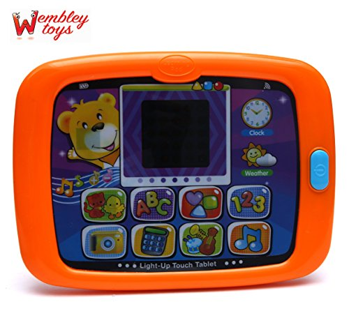 Wembley Toys Touch & Learn Light up with Auto Switch Off Mode Tablet with 10+ Apps & Activities and 160+ Songs/ Melodies and Sounds/ Phrases for Kids (Orange)