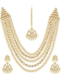 Shining Diva Fashion Gold Plated Jewellery Set for Women (White) (9603s)
