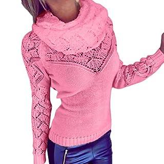 iHENGH Neujahrs Karnevalsaktion Damen Herbst Winter Bequem Lässig Mode Frauen Casual Rollkragen Langarm Solide Aushöhlen Pullover Pullover