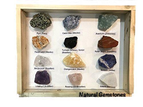 Pierres Semi Précieuses Lot de 12Différentes pierres cristal avec leur nom 3–5cm dans coffret Étagère en bois