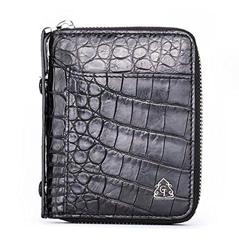 lpkone-20 % Vertical bi-homme court motif crocodile wallet zip grande autour de carte portefeuille paquet de carte format portefeuille B