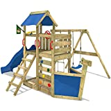 Wickey 503140, WICKEY Climbing frame SeaFlyer Climbing tower with swing, slide and lots of accessories, blue slide + blue tarp (Toys & Games)