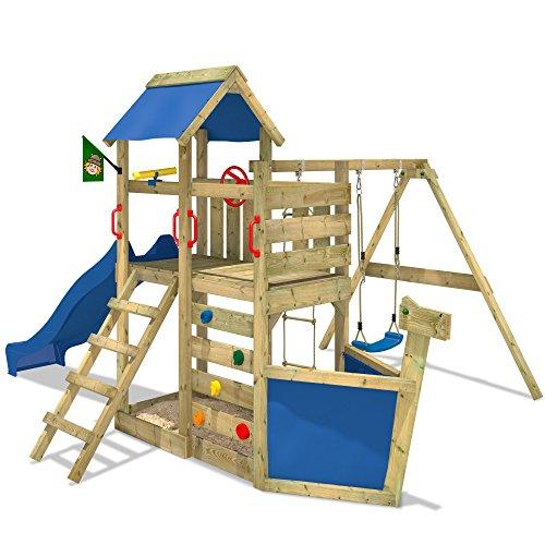 Preisvergleich Produktbild WICKEY Spielturm SeaFlyer Spielgerät Garten Kletterturm mit Schaukel, Rutsche und viel Zubehör, blaue Rutsche + blaue Plane