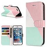 """Leeook Pretty Elegante - Funda con tapa para iPhone 6S de 4,7 pulgadas, diseño de mármol, color blanco y oro rosa, con ranuras magnéticas para tarjetas, función atril, función de atril, función atril, funda protectora plegable, para iPhone 6S 6 de 4,7 pulgadas + 1 lápiz capacitivo negro Marble Pink Green White Talla:iPhone 6S 6 4.7"""""""