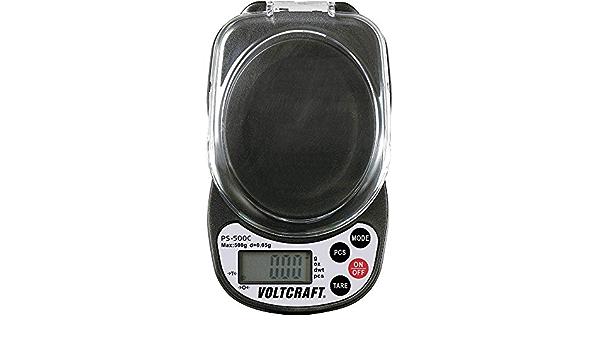 max. Voltcraft PS-500C Taschenwaage W/ägebereich 500g Ablesbarkeit 0.05g batteriebetrieben Schwarz